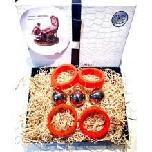 Confezione regalo - 3 palline + 4 elastici paletta